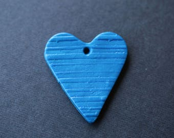 Blue Heart Drop, Polymer Clay Drop, Heart, Pendant, Striped Heart, Drilled Heart, Clay Component, Clay Heart, SRAJD