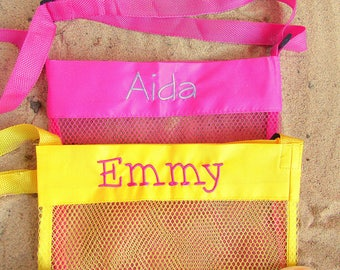 Green Personalized Mesh Sea Shell Bags