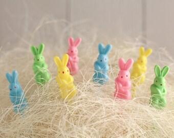 Retro Easter Bunny Picks - Miniature Plastic Spring Cupcake and Craft Picks, 8 Pcs.