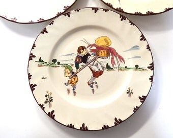 8 French Vintage  Creil et Montereau Hand Decorated Plates c. 1900