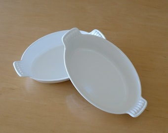 Le Creuset White Au Gratin Baking Serving Dishes Made in France Set of 2
