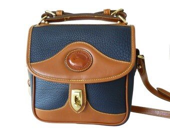 Dooney & Bourke Carrier Crossbody Shoulder Bag Navy Blue and British Tan AWL