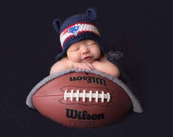 Patriot Baby hat for Newborn to 12 months- New England team colors - Tom Brady