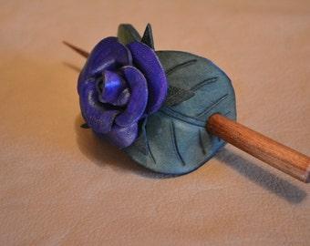 Leather Rose Barrette - Royal Blue Rose