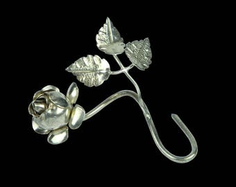 Silver Plated Miniature SINGLE STEM ROSE With Leaves, Circa 1940s