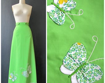 SPRING FORWARD Vintage 70s Skirt | 1970s Butterfly Applique Wrap Skirt | Lime Green Maxi by Catherine Carr | Hippie Boho Folk | Size Small