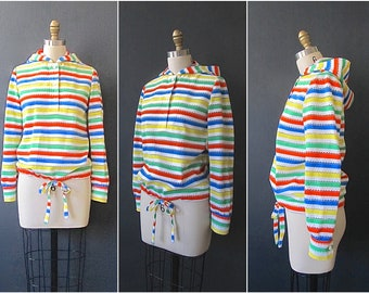 RAINBOW STRIPES Vintage 70s Shirt | 1970s Deadstock Kmart  Beach Cover Up Hoodie | Surfer, Vacation, Festival Wear, Resort Top | Size Small