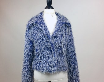 90's Periwinkle Blue Shaggy Monster Faux Fur Shaggy Coat // M