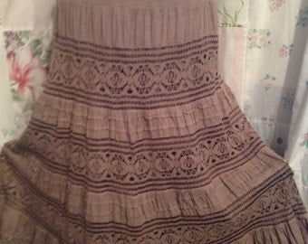 LARGE, Skirt, Boho Gypsy Hippie Tiered Light Brown Stretch Cotton Skirt