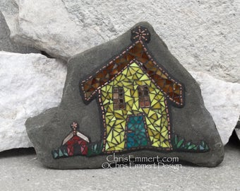 Crooked House Mosaic Rock, Gardener Gift, Home Decor, Mosaic Garden Stone
