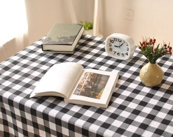 Tablecloth Buffalo Check Plaid Black White Rectangle Square Round Oval  Dining,Party,Wedding,