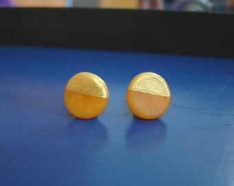 Orange gold dipped stud earrings gift for her polymer clay round earrings