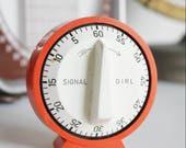Vintage Signal Girl Wehrle Kitchen Timer - Vintage Orange Mid Century Kitchen Timer - Made in Germany
