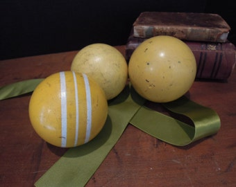 Three Vintage Weathered Croquet Balls / Yellow / White Stripe / Home Decor