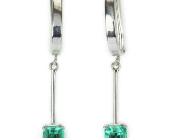 1.22cts natural Colombian emerald Earrings, Emerald pair earrings, 14k gold, white gold, Dangle Emerald Earrings, Dangle Earrings, Emerald
