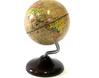 Vintage World Globe c1925 Cast Iron Advertising/Promotional Terrestrial Bank by Denoyer-Geppert