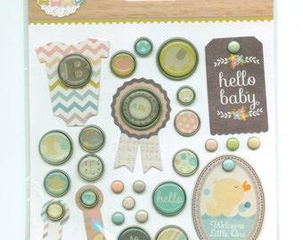 Simple Stories Decorative Brads, Hello Baby Pastel colors