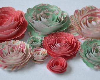 Love in Paris Handmade Spiral Paper Flowers Mint, Watermelon, Seafoam