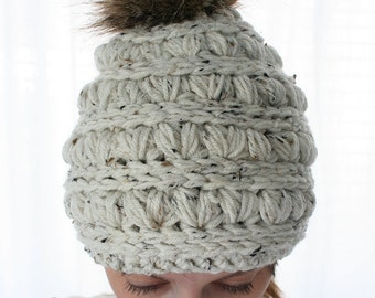 Women's crochet hat, knit hat for women, womens hats, faux fur pom pom hat for women and girls