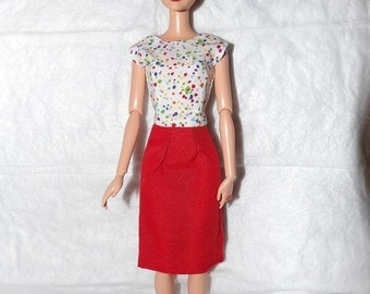 Short sleeve top with colorful flecks and low back & solid red skirt for Fashion Dolls - ed980
