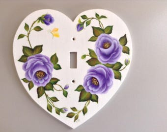 PURPLE ROSES SINGLE Heart shaped Light Switch Plate - floral switchplate