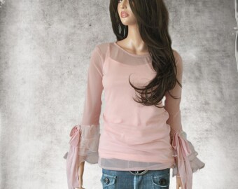 Pastel pink mesh top/Bell ruffle long sleeve/Crew neck shirt/Knit blouse
