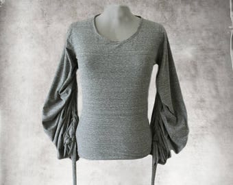 Gray marled top//Pleated long sleeve/women knit shirt