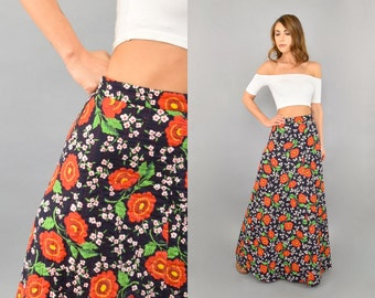 70's Poppies Quilted Maxi Skirt