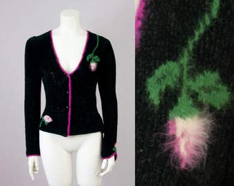 70s Vintage Black Chenille Rose Embroidered Cardigan (S)