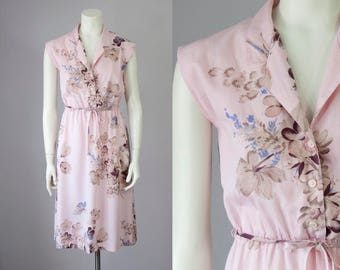 70s Vintage Pink Floral Print Cotton Midi Dress (XS, S)