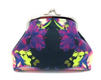 Multi-coloured Kisslock Clutch Coin Purse Wallet Silver Double Frame Gift for Women Cotton Silk Grey Purple Flower Abstract Design