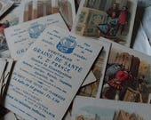 Batch 34 superb antique French coloured pharmacy chemist advertising cards c1890 HISTOIRE GENERALE and money