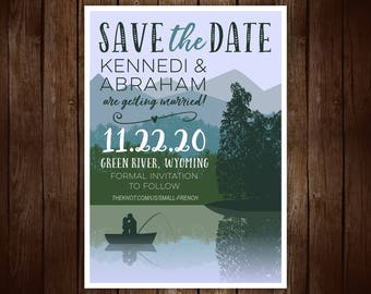 Printable Save the Date Card, Fishing Save the date, Mountains and Lake, Outdoors, Scenic save the date, Wedding announcement
