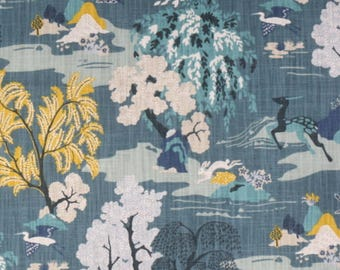 Peacock Blue Toile Designer Pillow Cover Accent Cushion hollywood regency birds trees rabbit indigo blue teal yellow aqua chinoiserie modern