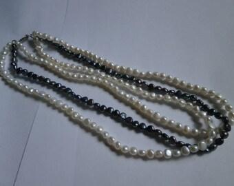 Vintage Mix Lot, 2, Genuine Pearl/Pk/Wh/ Pearls, Necklace, Pk quartz, 925
