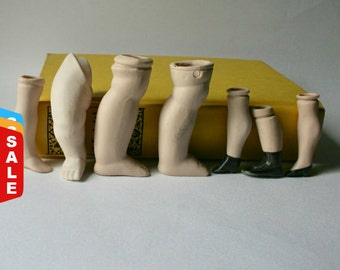 Final Markdown- Sale - Seven Vintage Porcelain Legs and Feet for Altered Art and Display