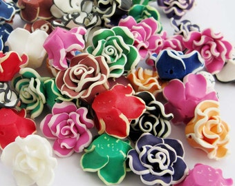 10Pieces Multiple Color Flower Beads Jewelry Finding 20mm*9mm  ja661