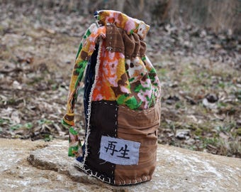Japanese Boro Style Boho Bag made from Upcycled Textiles/ Handmade Sashiko Bag/Kanji
