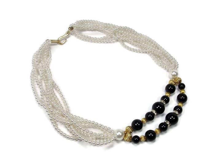 Multi Strand Pearl Black Bead Necklace