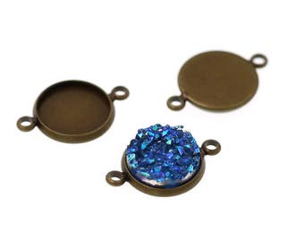 10pcs of 12mm Antiqued Bronze Tone Charm Drop Pendant Round Tray Connectors Bezel Blanks, Made with Brass