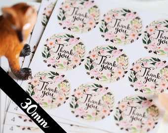 30MM Thank You stickers, Round Cut Sticker for Etsy Sellers, Wedding, Party, Water Resistant Matte Lamination, Vintage Watercolor Wreath