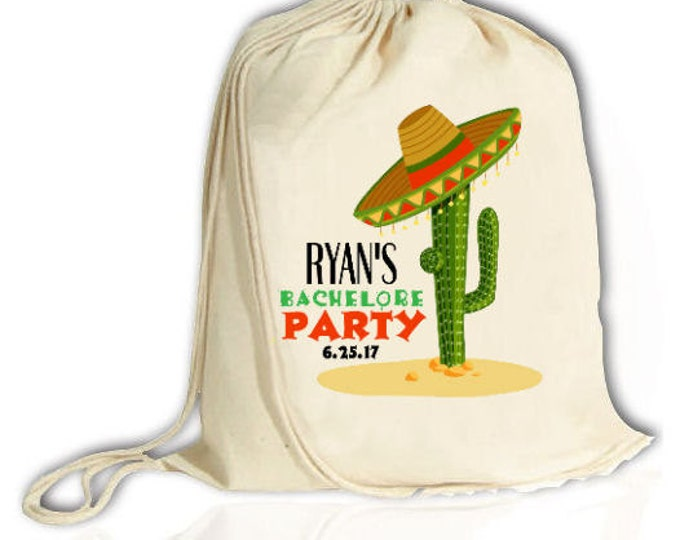 Sombrero Bachelor Party Backpack , Cactus,  Mexican Bash, Groomsman, Mexico, Back Pack, Cinch Bag