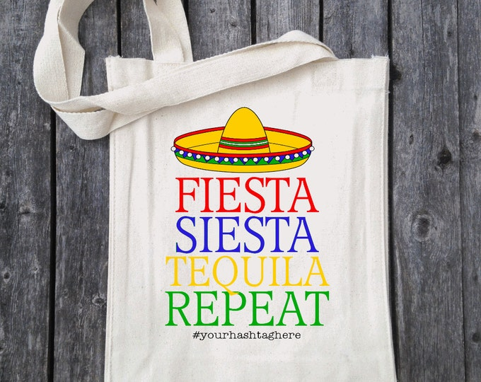 Fiesta Siesta Tequila Repeat Colorful Bachelorette Tote - Wedding Welcome Tote Bag