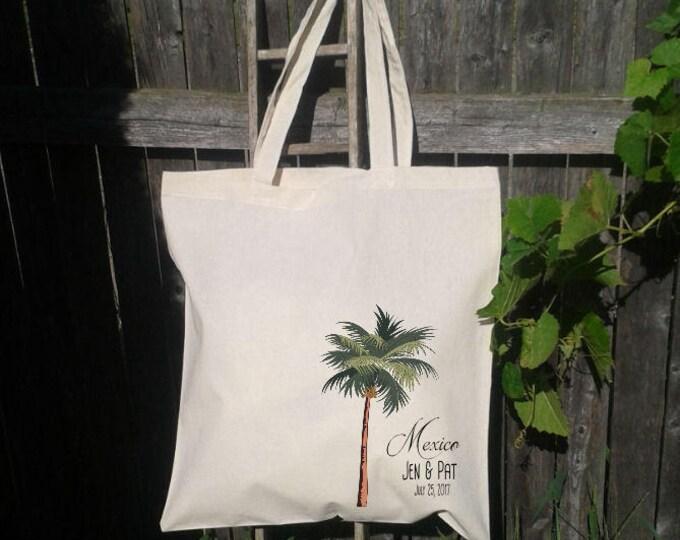 Palm Tree Tote Bag, Wedding Welcome Tote Bags, Destination Wedding Favor