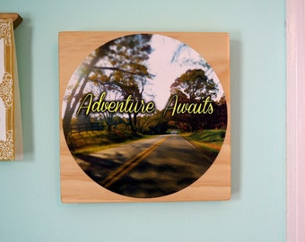 Adventure Awaits- Daily Inspiration Tile#9 - Wood & Fabric Wall Art