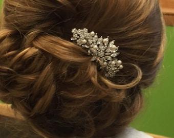 Crystal hair accessories,Pearl hair comb,Vintage style Bridal haircomb,Wedding hair jewellery,Rhinestone hair piece,Boho headpiece,Wedding