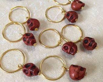 Halloween Hair Decor Brown Skull Hair Ring Hairrings Hairring Set of 8 pcs. Hair Jewelry Braid Decoration Item Steampunk Gothic Style