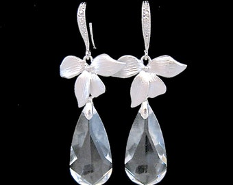 Wedding Earrings Clear Crystal Bridal Jewelry Orchid Earrings Flower Cubic Zirconia Bridesmaid Gift