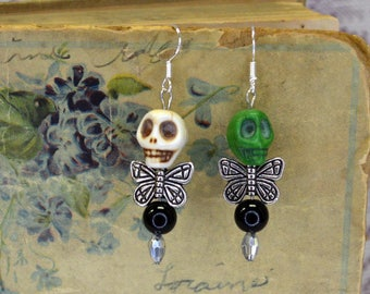 Quirky Cool Mismatched Green White Dead Fairy Stone Skull Dangle Earrings