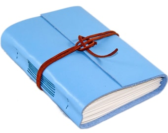 Light Blue Leather Journal with Blank Paper - Travel Journal - Journal - Prayer Journal - Blank Paper - Leather Journal - Ready to Ship